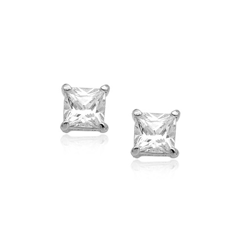 0d251cb2e 18ct white gold plated square clear crystal stud earrings ESWGP004WHSQ