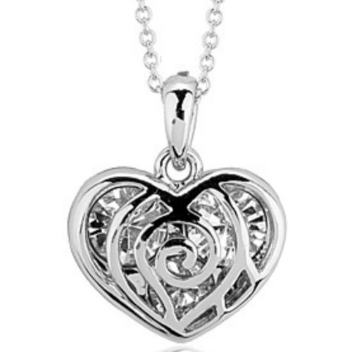 White gold finish heart pendant necklace