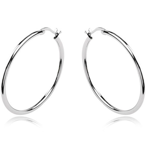 34/39mm white gold finish hoop earrings