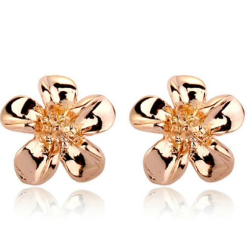 Rose gold finish flower stud earrings