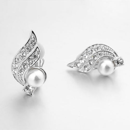 White Gold finish clip-on earrings