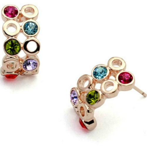Multi coloured half-hoop stud earrings