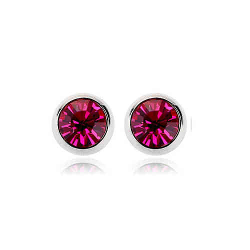 18ct white gold plated fuchsia crystal stud earrings ESWGP004FU00