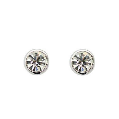 Small 18ct white gold plated clear crystal stud earrings ESWGP003WH00