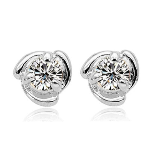 Clear white gold finish stud earrings