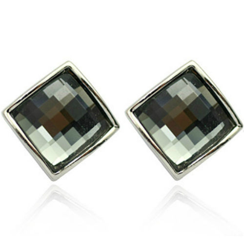 White gold finish black square studs