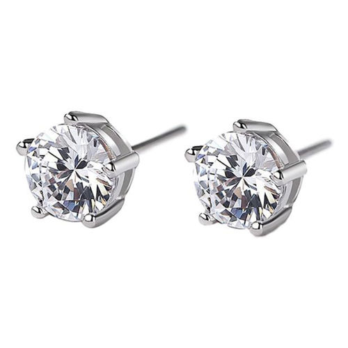 White gold finish 9mm round stud earrings