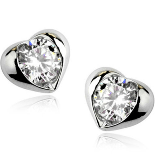 White gold finish clear heart stud earrings