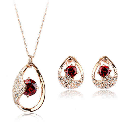 Red jewellery set with rose gold finish