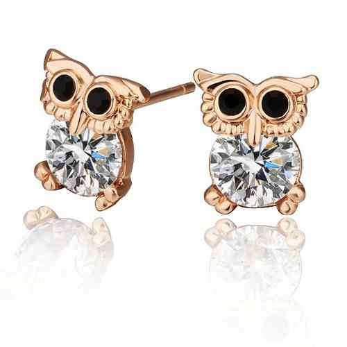 Rose gold finish sparkly owl stud earrings