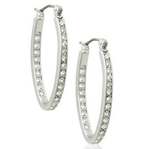 White gold finish sparkly hoop earrings