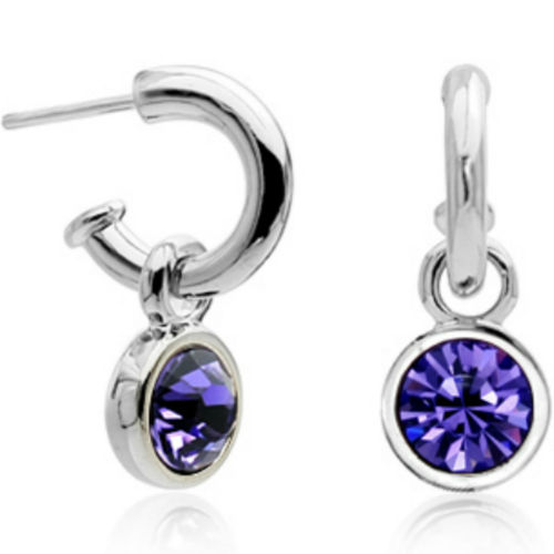 White Gold finish purple half hoop studs
