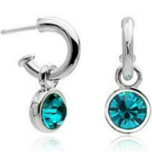 White Gold finish turquoise half hoops