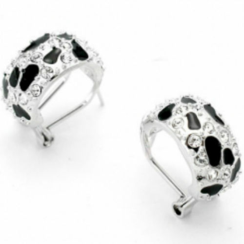 White gold and black enamel earrings