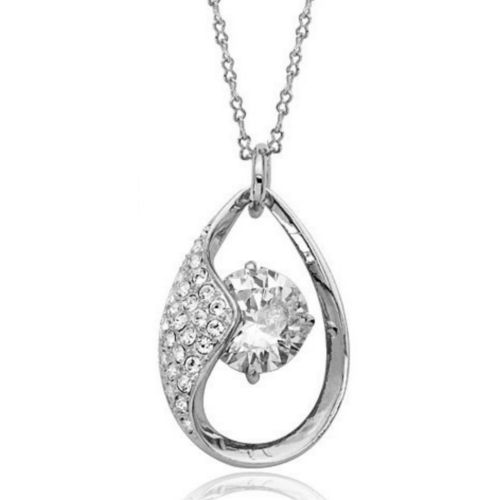 White gold finish clear sparkly pendant necklace