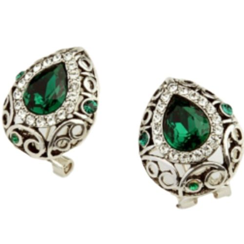 White gold finish green omega-back earrings