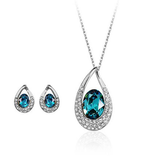 White gold finish turquoise earrings + necklace