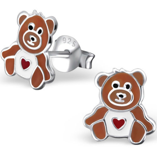 925 Sterling Silver kids teddy bear stud earrings