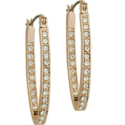Rose gold finish sparkly hoop earrings