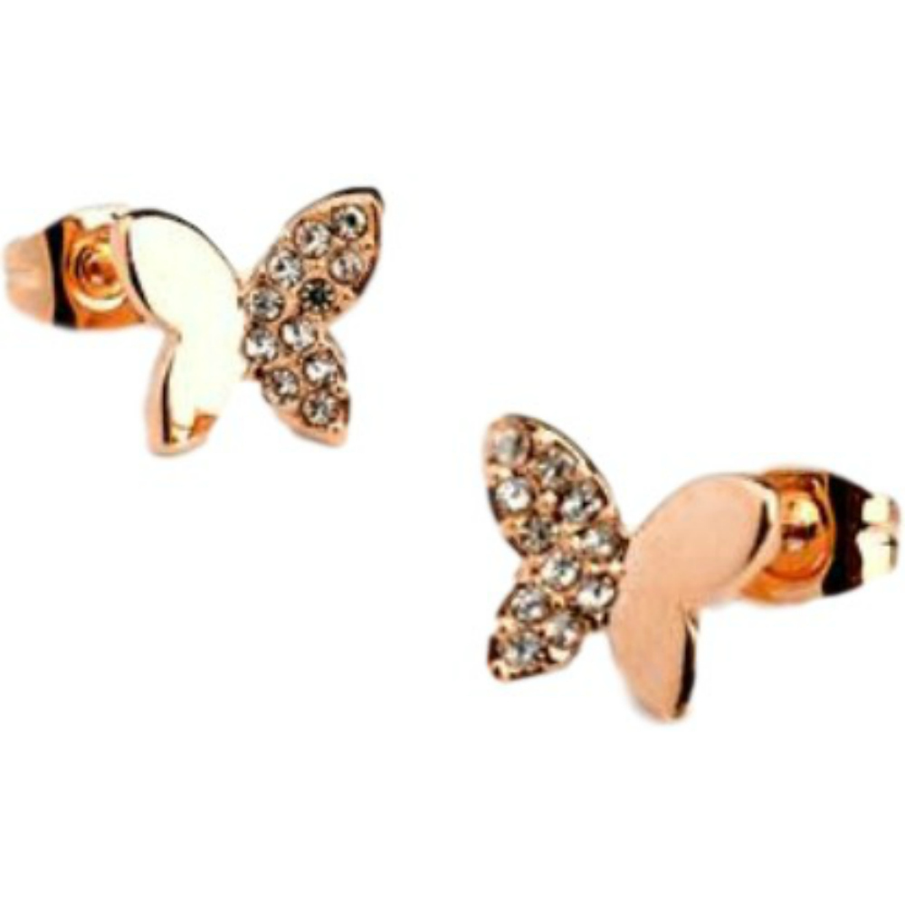 af4ee4c6c Rose gold finish butterfly stud earrings quality jewellery UK gift ...