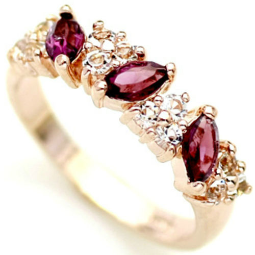 Rose Gold finish Ring with Amethyst CZs