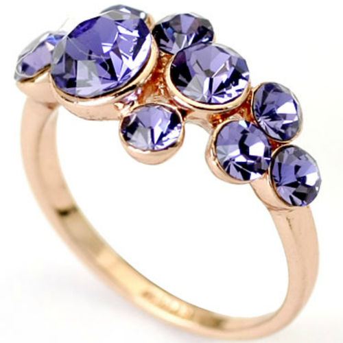 Rose Gold finish Ring with Tanzanite CZs