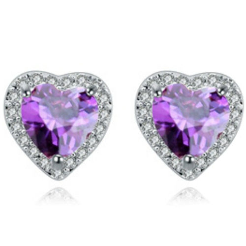 Purple white gold finish sparkly heart studs