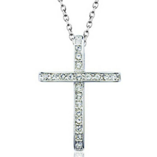 White gold finish clear cross pendant necklace