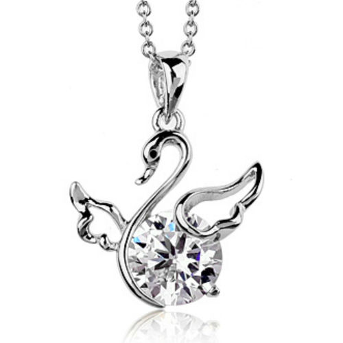 White gold finish swan pendant necklace