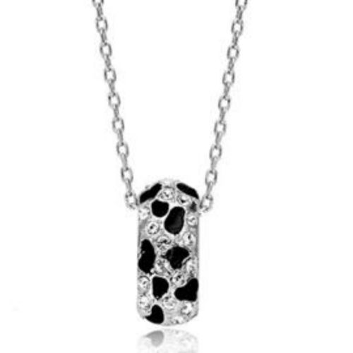 Clear and black reversible pendant necklace