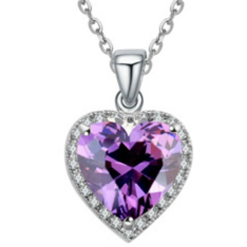 White gold finish purple heart pendant necklace