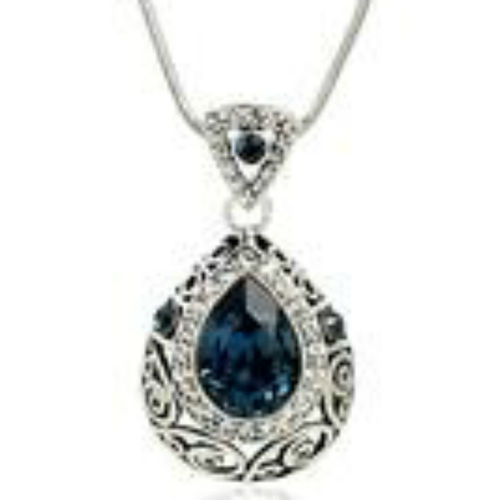 White gold finish blue sparkly pendant necklace