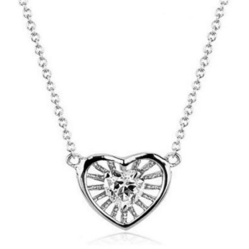 White gold finish clear heart pendant necklace