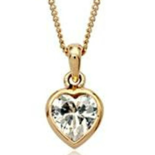 Rose gold finish clear heart pendant necklace