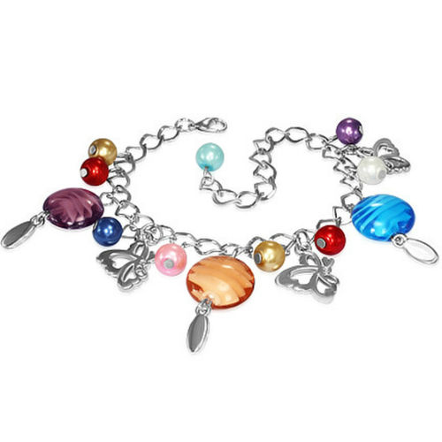 Multi-Colour Butterfly Charm Bracelet