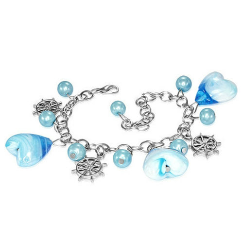 Blue Heart Ships Wheel Charm Bracelet