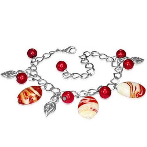 Red and White Bead Leaves Charm Bracelet