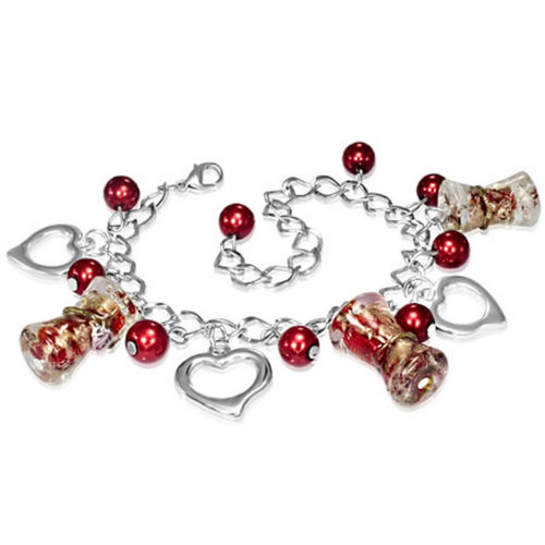 Red and Gold Flower Bead Heart Charm Bracelet