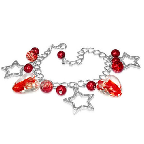 Red and Clear Heart Bead Star Charm Bracelet