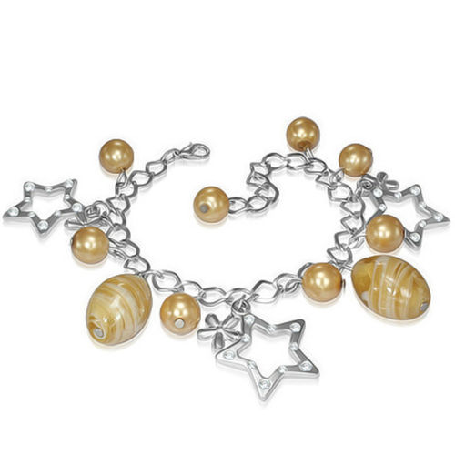 Golden Bead Flower Star Charm Bracelet