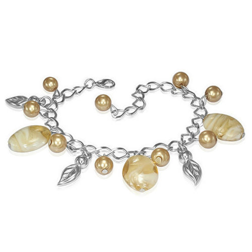 Golden Bead Leaf Charm Bracelet