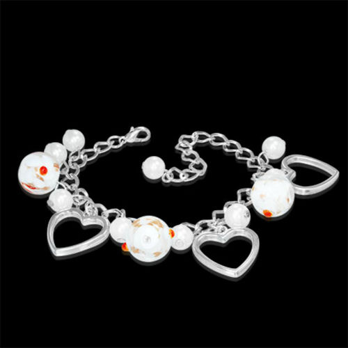 White Flower Bead Heart Charm Bracelet