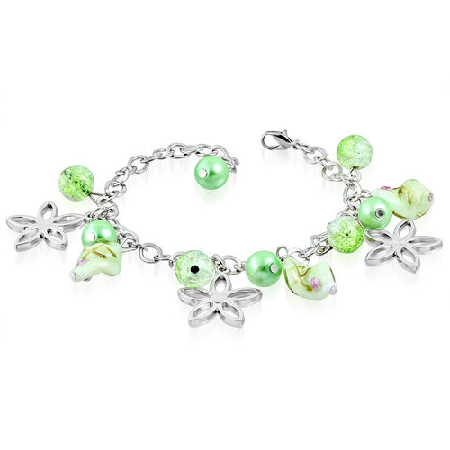 Light Green Bead Flower Star Charm Bracelet