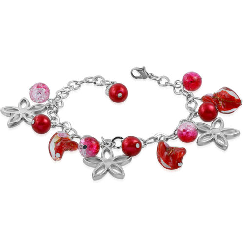 Red Bead Flower Star Charm Bracelet