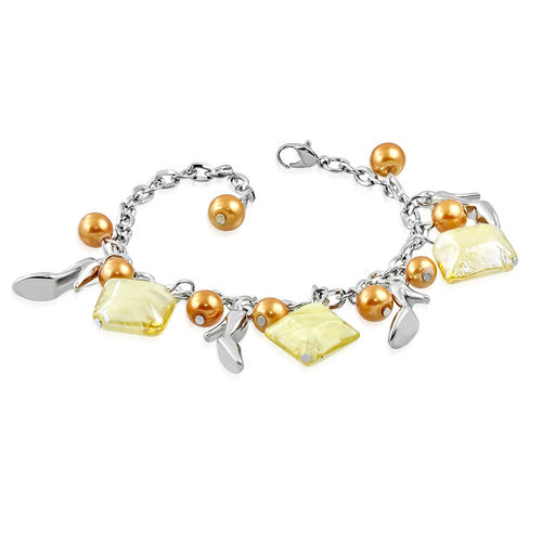Golden Bead Shoe Charm Bracelet