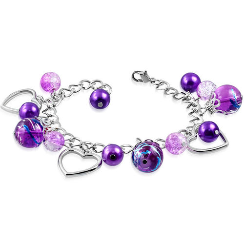 Purple Bead Open Love Heart Charm Bracelet