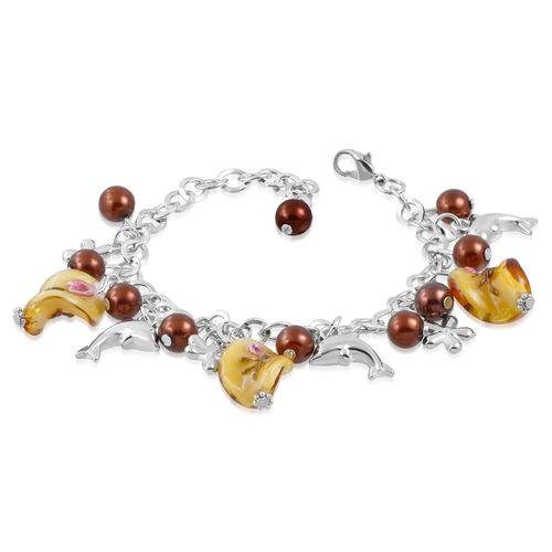 Brown Glass Bead Dolphin Charm Bracelet