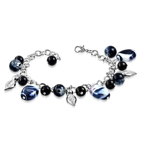 Black and White Bead Leaf Charm Bracelet