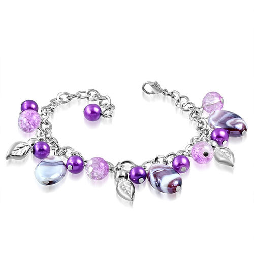 Purple and White Bead Leaf Charm Bracelet