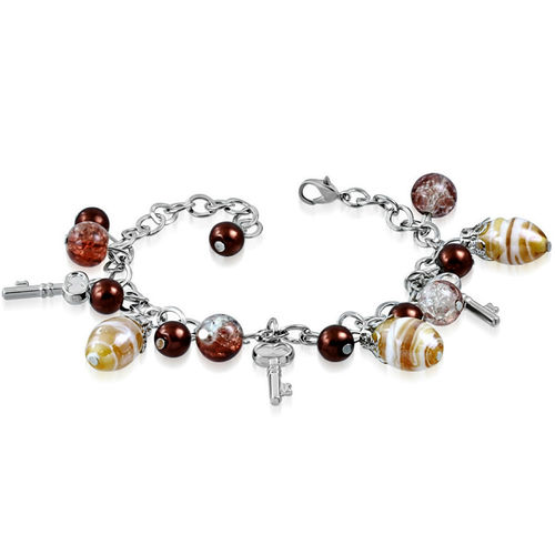 Brown Golden Bead Key Charm Bracelet